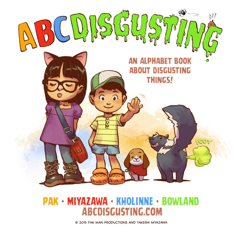 """ABC Disgusting"" by Greg Pak, Art by Takeshi Miyazawa with colors by Jessica Kholinne, an Asian American boy tries to shock his older sister with an alphabetical series of disgusting things, but in the end, she hits him with what might be the biggest gross-out of all."