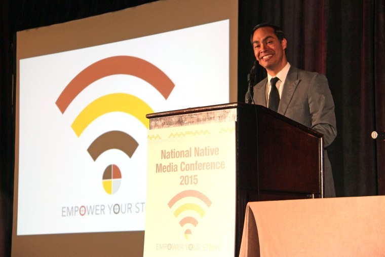 Housing Secretary Julían Castro speaks to the National Native News Media Conference hosted by the Native American Journalists Association and Native Public Media on July 12, 2015.