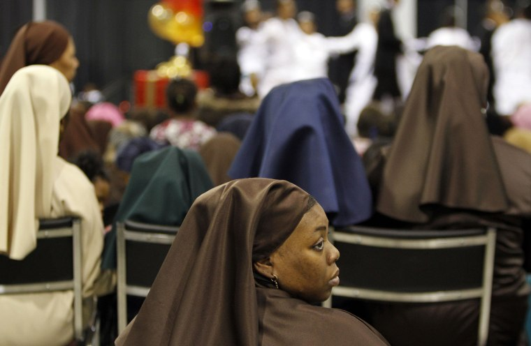 A woman attends a Muslim convention in Rosemont, Ill., in 2010.