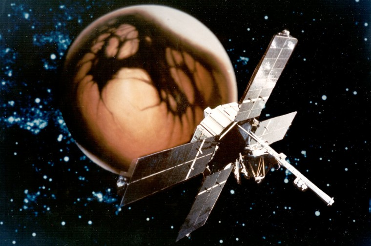 This image of the Mariner 4 spacecraft superimposed on an illustration of Mars was used to promote the 1964-65 NASA mission.