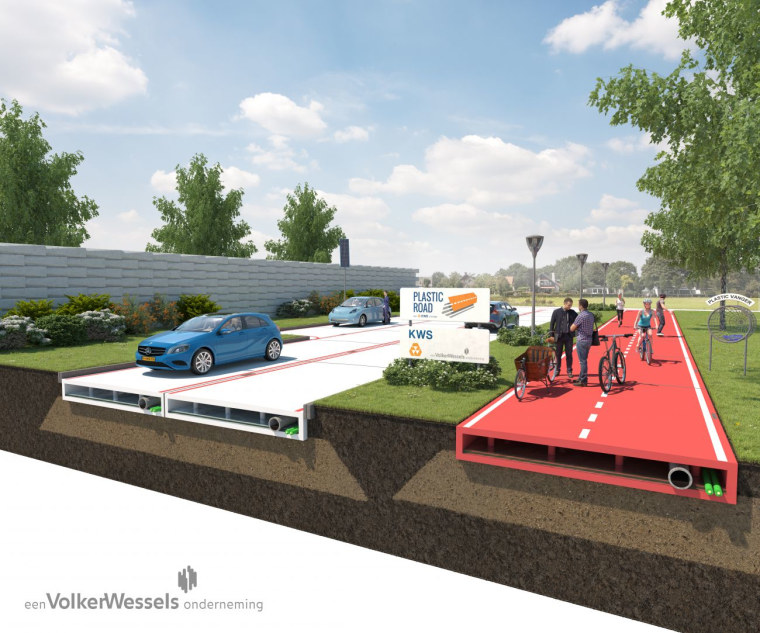 The PlasticRoad design features a 'hollow' space that can be used for cables, pipes and rainwater.