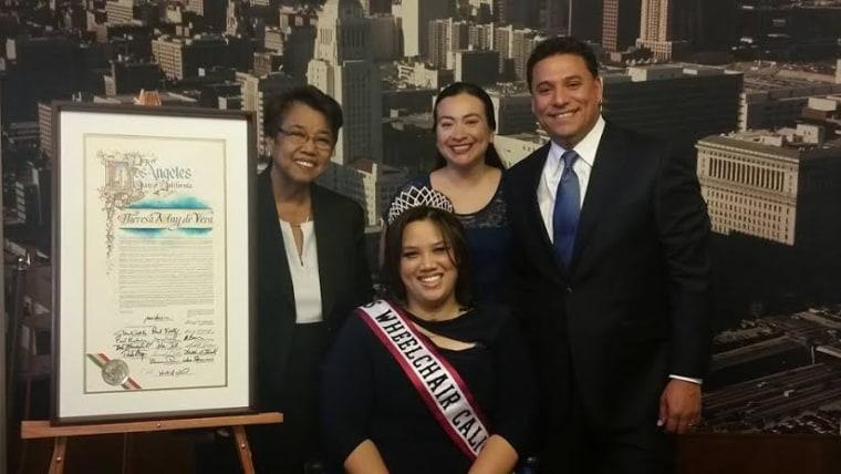 (L-R) Ruby (Theresa's mom), Theresa de Vera, Former Secretary Daisy Bonilla, and Councilman Jose Huizar.