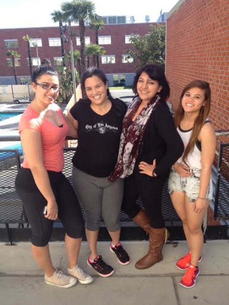 Image: Theresa de Vera with her therapists at Cal State University.