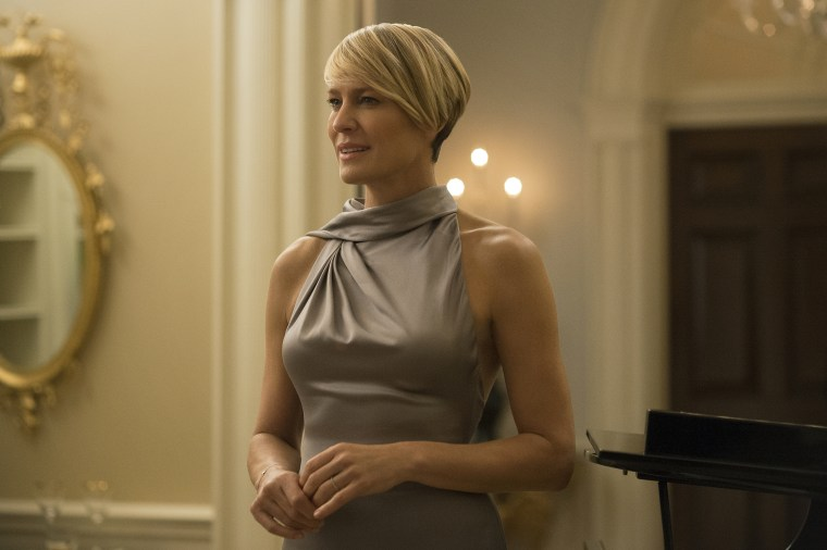 """Robin Wright appears in a scene from """"House of Cards."""" Wright was nominated for an Emmy Award for outstanding lead actress in a drama series for her role on the show on Thursday, July 16, 2015. The 67th Annual Primetime Emmy Awards will take place on Sept. 20, 2015."""