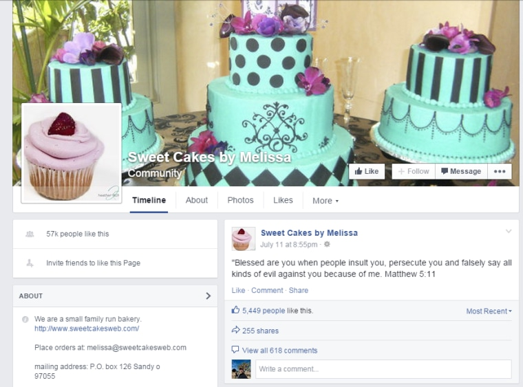 Sweet Cakes by Melissa Facebook page