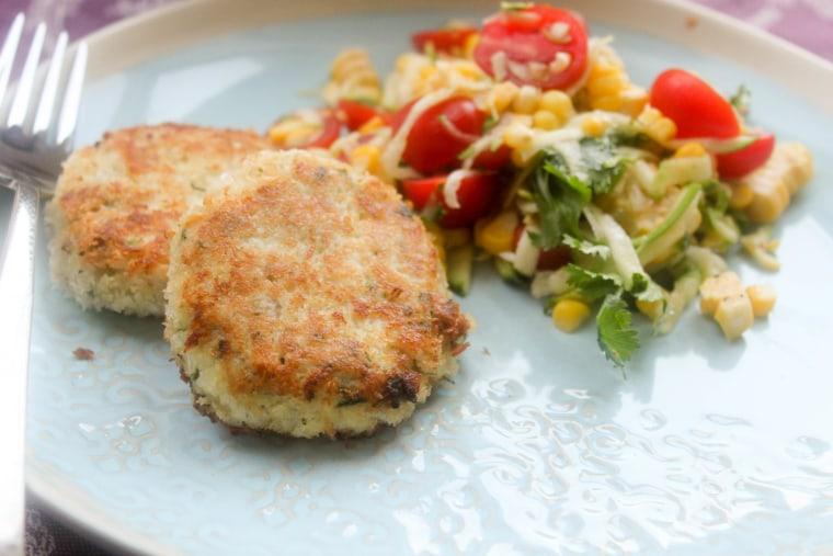Tilapia fish cakes with corn tomato salad