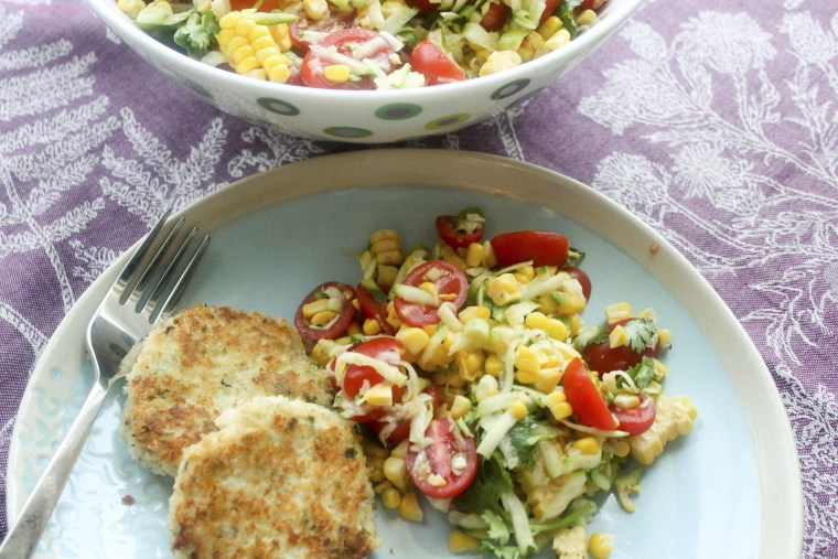 Crispy tilapia fish cakes and salad for under 500 calories