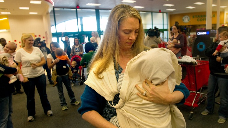 """On Dec. 28, 2011, Deanna Vascoe breastfed her then-16-month-old son during a """"nurse-in"""" protest at the Target store in Webster, Texas."""
