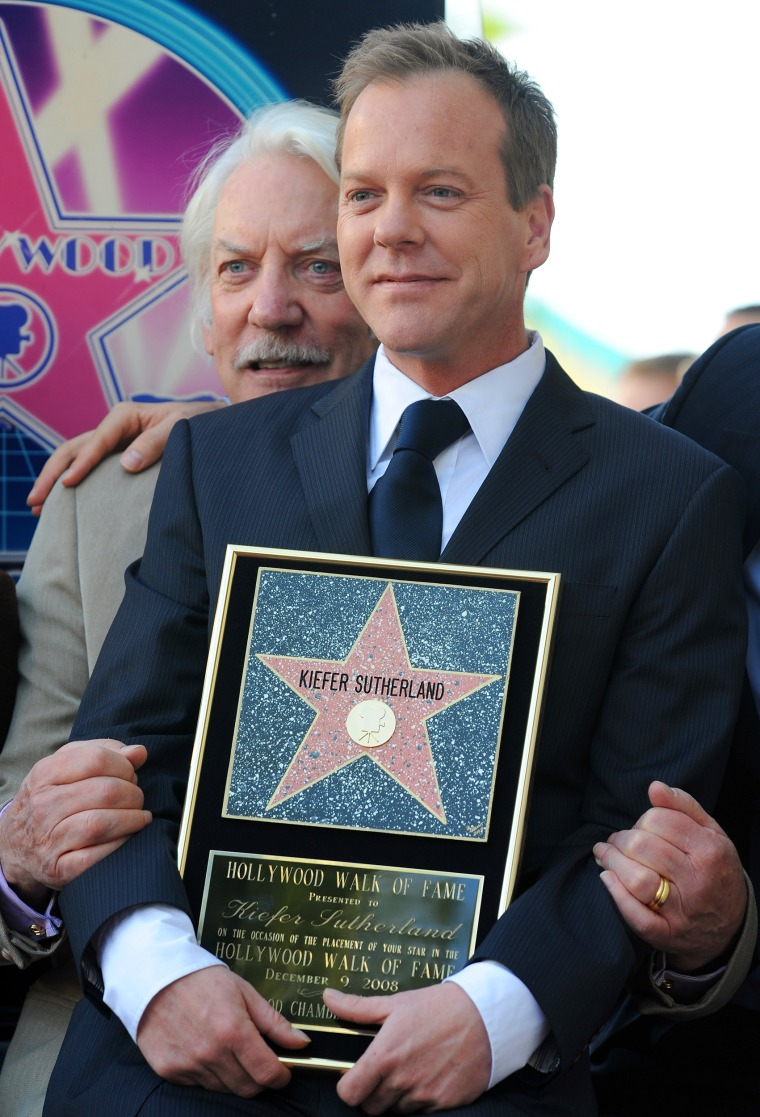 Kiefer Sutherland poses with his father, actor Donald Sutherland