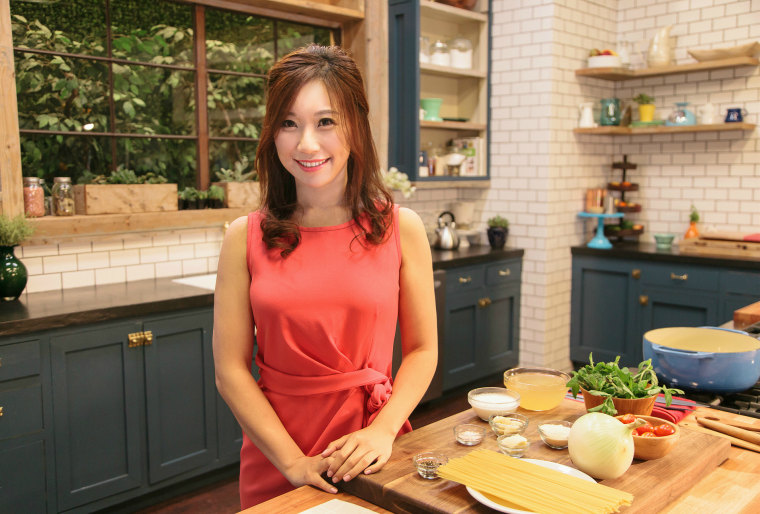 Katie Hsieh at a Tastemade studio in California teaches viewers in Chinese how to make simple meals.