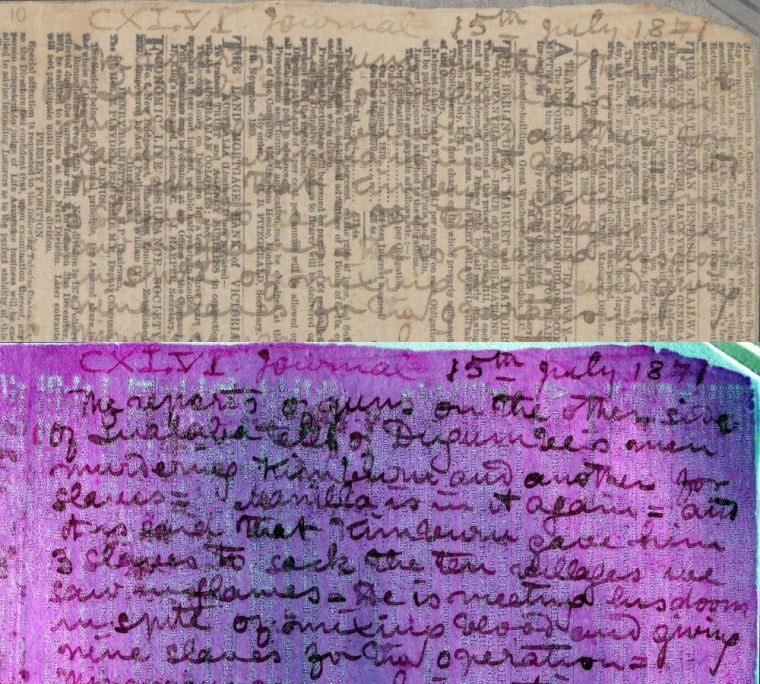 A newsprint page used by David Livingstone as a diary but rendered illegible by fading. Multispectral imaging all but eliminates the interfering print, leaving the handwritten text readable.