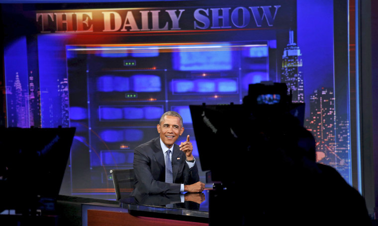 Image: Obama appears on The Daily Show with Jon Stewart in New York