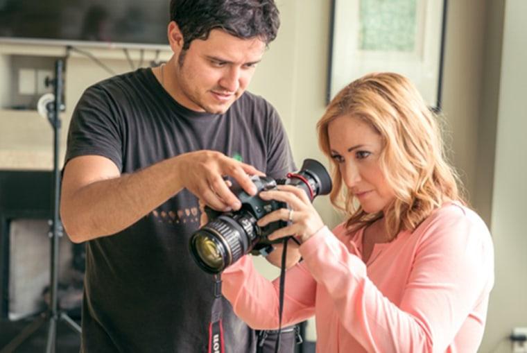 "Image: Mitú President/Co-Founder Beatriz Acevedo reviews shots from ""Vive el Verano"" with cinematographer Octavio Picazo."