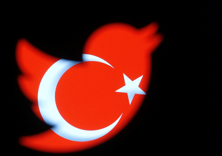 Image: A Turkish national flag is seen through a Twitter logo