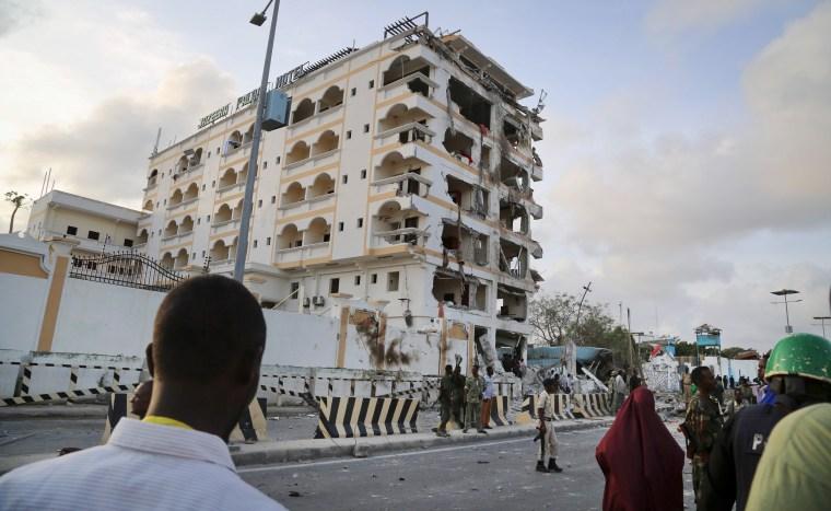 Image: The scene of a suicide car bomb attack in the capital Mogadishu