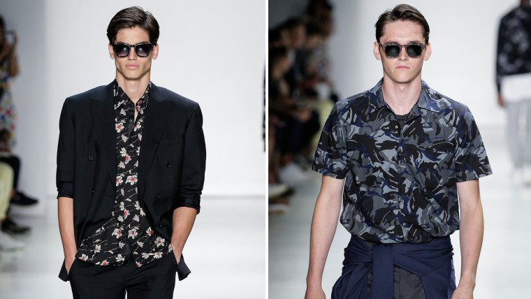 Hawaiian shirts are featured as model walk the runway at the Ovadia and Sons collection during men's fashion week