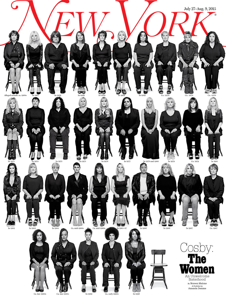 The July 27 - Aug. 9 cover of New York magazine shows 35 of the 46 women who have come forward publicly to accuse Bill Cosby of rape or sexual assault.