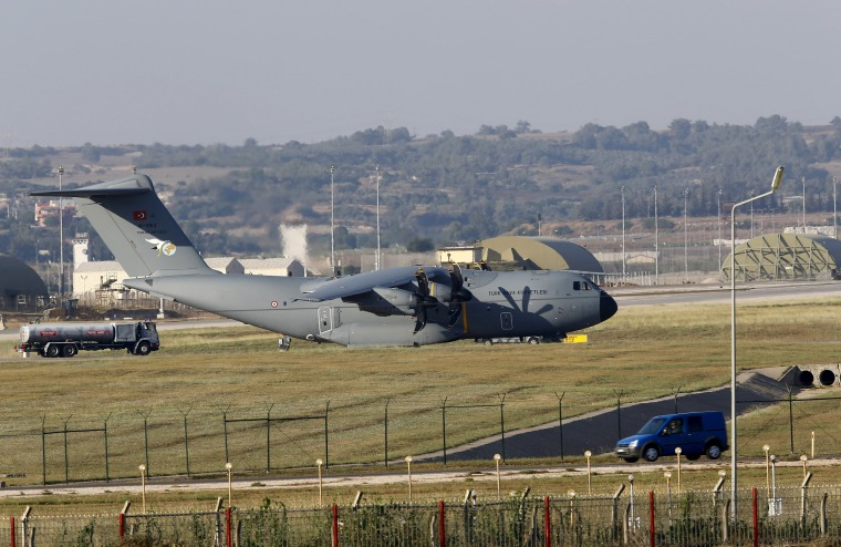 Image: A Turkish Air Force A400M tactical transport aircraft is parked at Incirlik airbase in the southern city of Adana, Turkey