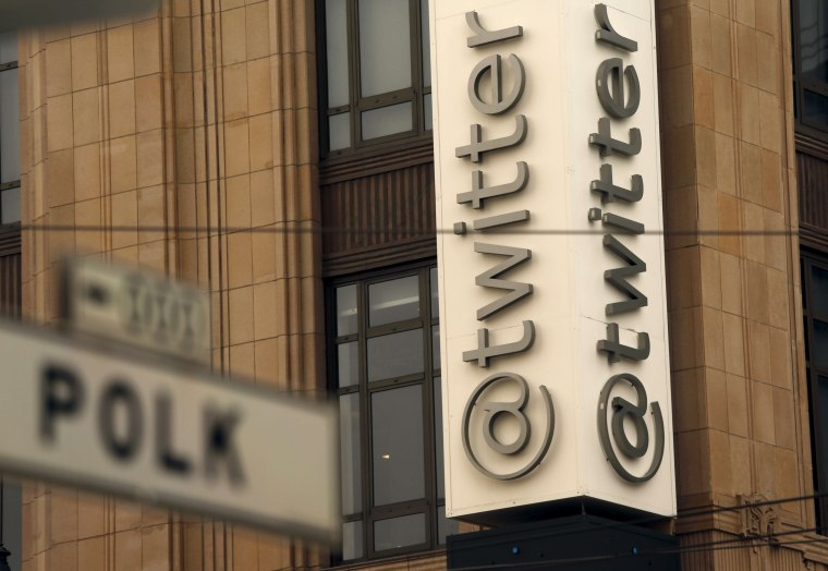 Image: Twitter logo at its corporate headquarters
