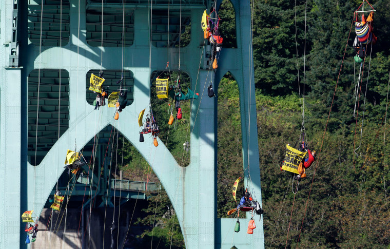 Image: Activists hang from the St. Johns Bridge