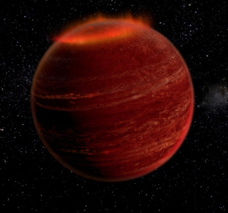 Image: Artist's concept of brilliant auroras on failed star about 18.5 light-years from Earth