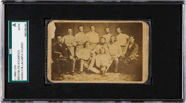 Image: A rare pre-Civil War baseball card featuring the 1860s Brooklyn Atlantics is pictured in this handout photo