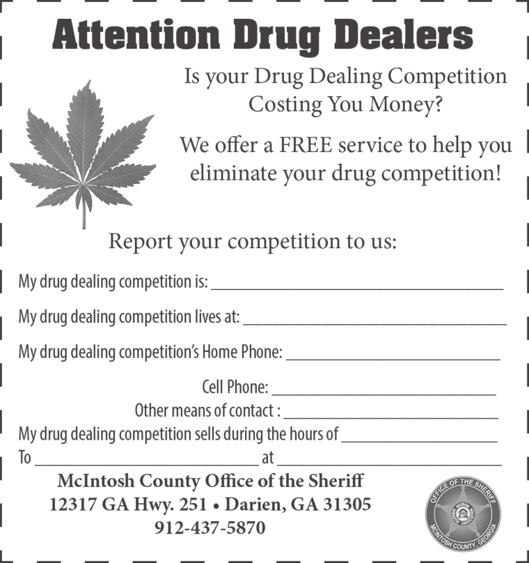 Georgia Sheriffs Ad Invites Drug Dealers To Rat Out Rivals