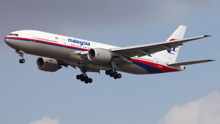 The Malaysian Airlines Boeing 777 that disappeared on a flight from Kuala Lumpur, Malaysia, to Beijing, China, on 8 March 2014, is seen at Los Angeles International Airport on Nov. 15, 2013