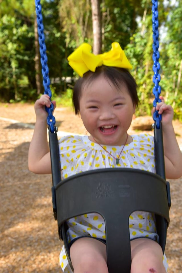 Lucy, a 6-year-old with Down Syndrome, was adopted by Audrey and Brent Shook