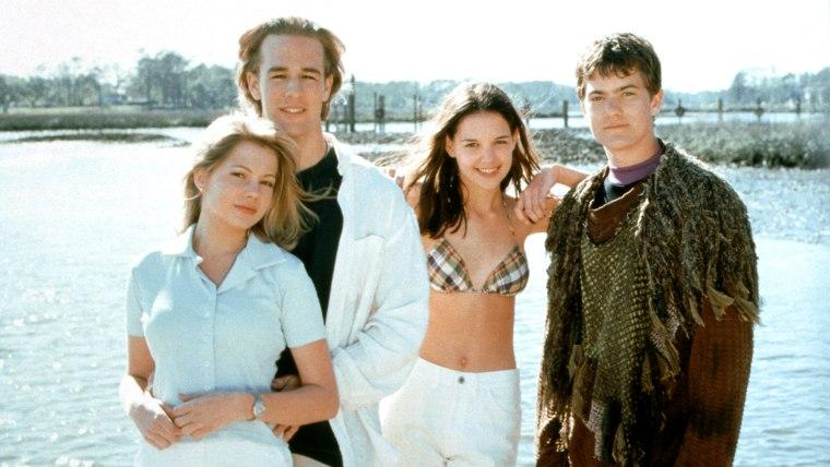 DAWSON'S CREEK, (from left): Michelle Williams, James Van Der Beek, Katie Holmes, Joshua Jackson, (S