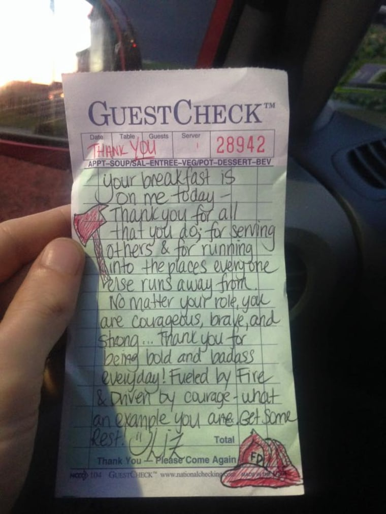 Waitress picks up firefighters' check