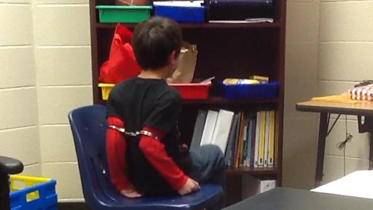 An 8-year-old disabled student was handcuffed for misbehaving, a federal lawsuit claims.