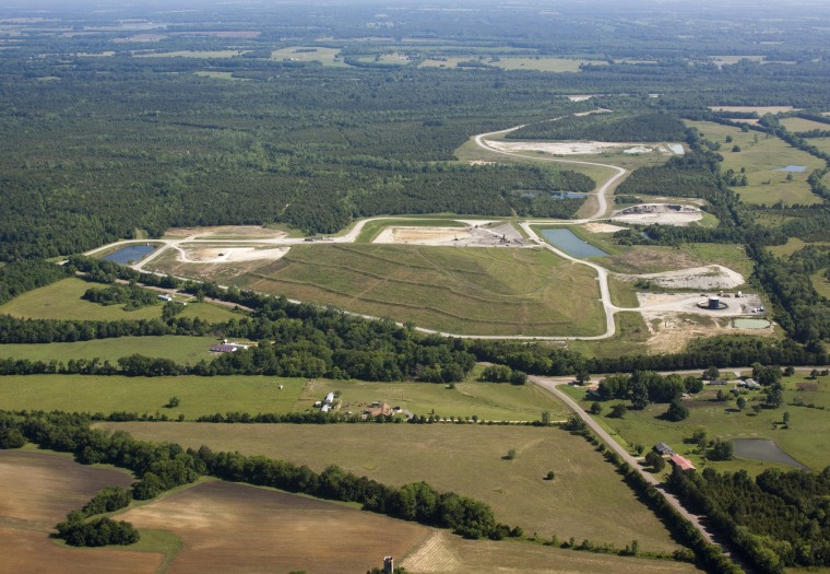 Aerial view of Arrowhead Landfill in Uniontown, Alabama.