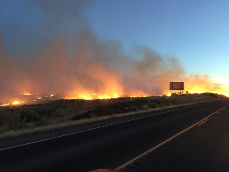 Image: An entire town in southern Washington has been evacuated as a fast-moving wildfire roared toward people's homes