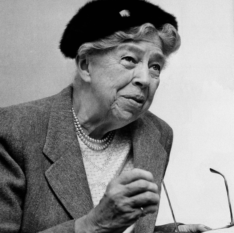 Mrs. Eleanor Roosevelt, widow of President Franklin D. Roosevelt, raises her hand to emphasize a point during interview on Oct. 16, 1957, St. Louis, Mo.