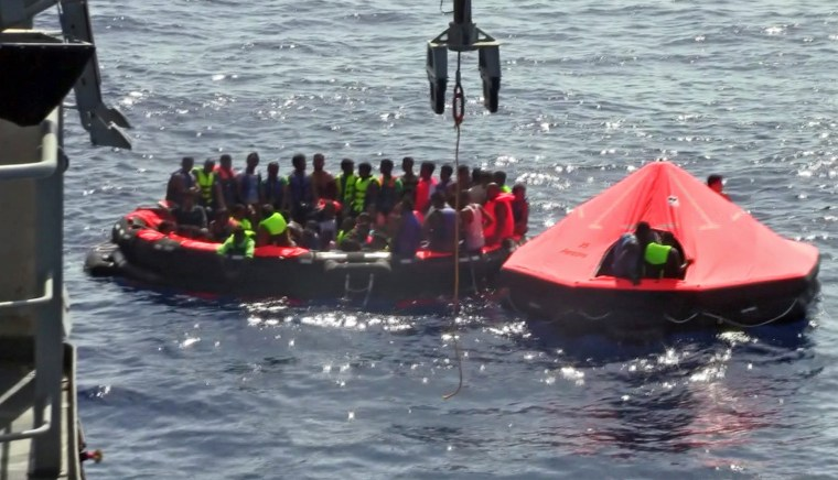 Image: Dozens of migrants feared dead as boat capsizes off Libya