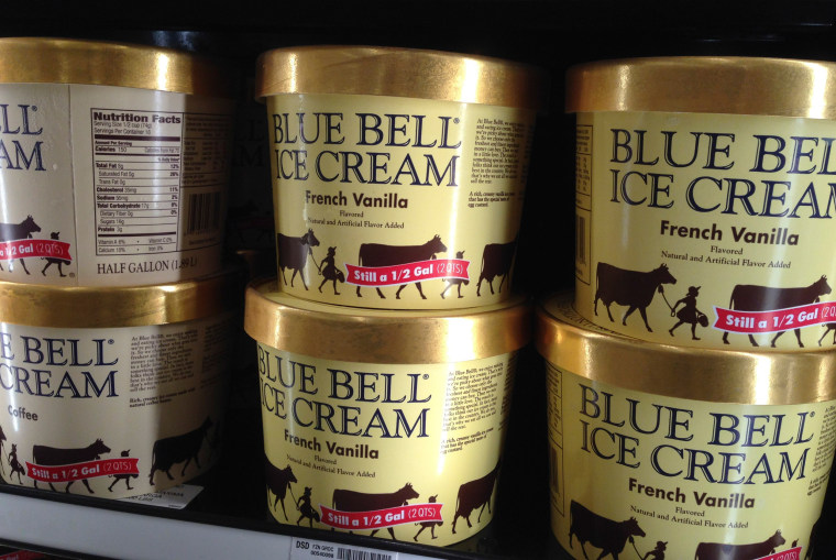 Image: Blue Bell ice cream stands for sale on a grocery store shelf