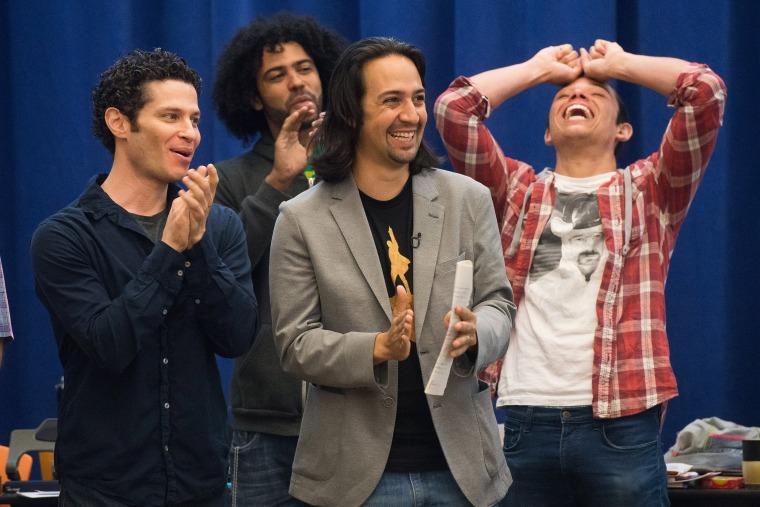 Image: Thomas Kail, Anthony Ramos, Lin-Manuel Miranda, Daveed Diggs