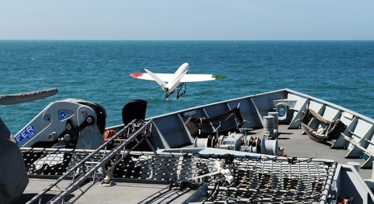 Image: A 3-D printed drone launches off the HMS Mersey