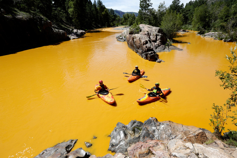Image: Animas River colored by mine waste spill