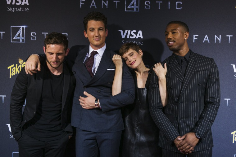 Image: Cast members Jamie Bell, Miles Teller, Kate Mara, and Michael B. Jordan pose at the premiere of the film Fantastic Four in the Brooklyn borough of New York