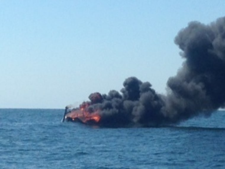 IMAGE: Sailboat on fire off Ocean City, New Jersey