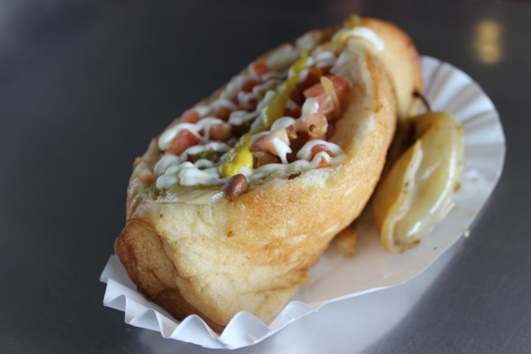 Sonoran hot dogs have become popular in Tucson, Arizona. This one was prepared at El Güero Canelo.