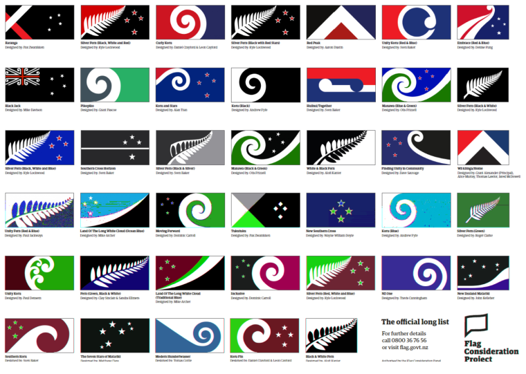 Image: Proposed new designs for the flag of New Zealand