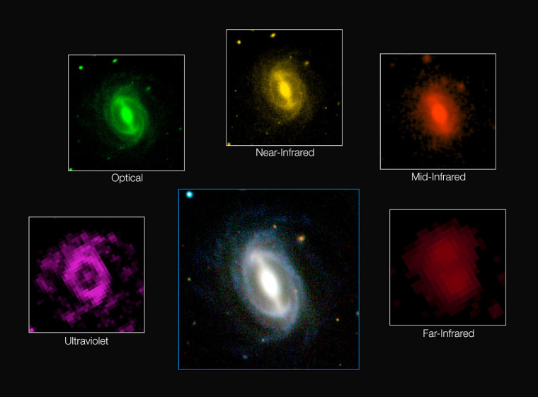 This composite image shows how a single galaxy appears in different wavelengths of radiation.