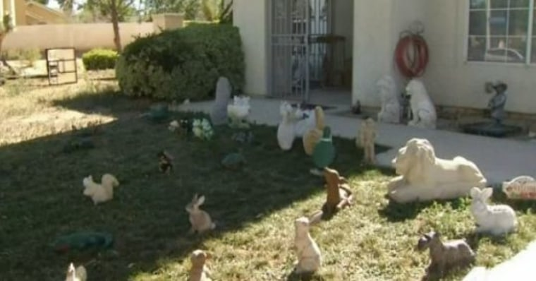 There are now more than 54 lawn statues in the family's front lawn.