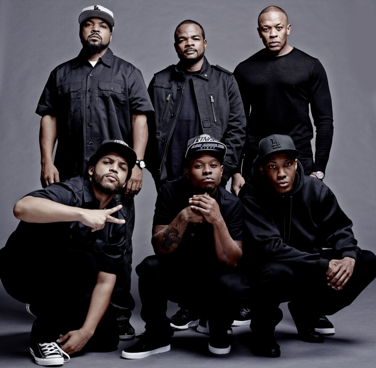The original members of N.W.A. with their 'Straight Outta Compton' counterparts.