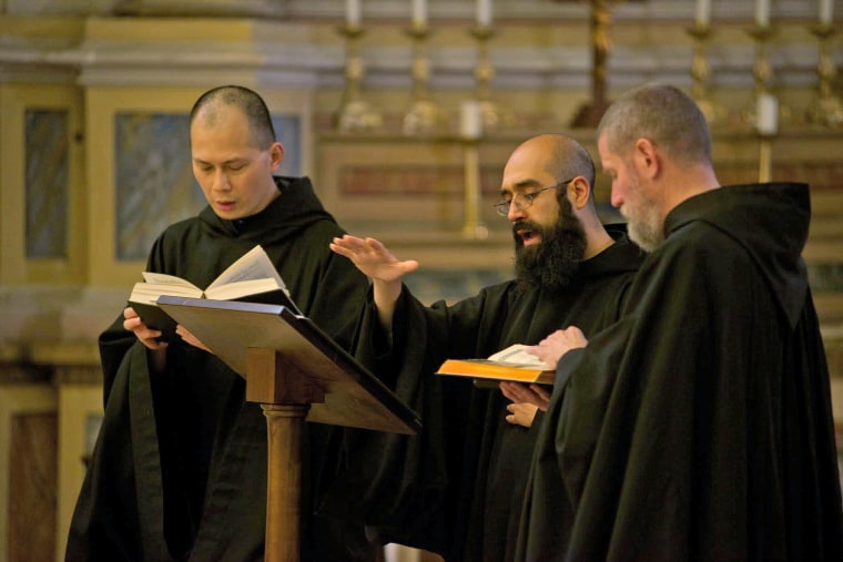 Basil Nixen, center, a native of Arizona, is the choir master of the Monks of Norcia, who have a chart-topping album of Gregorian chants. Norcia also is the musical director for the album which has topped Billboard's Classical Album list for several weeks. Norcia's parents are from Mexico and he joined the monastery in Norcia, Italy at 20.