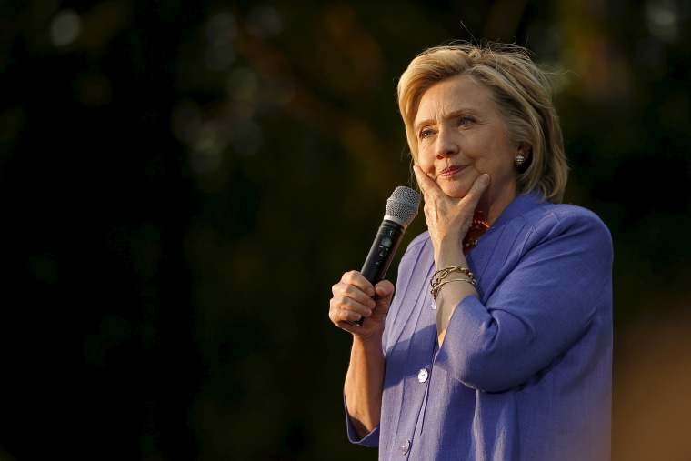 Image: U.S. Democratic presidential candidate Hillary Clinton pauses while speaking at a campaign stop in Manchester