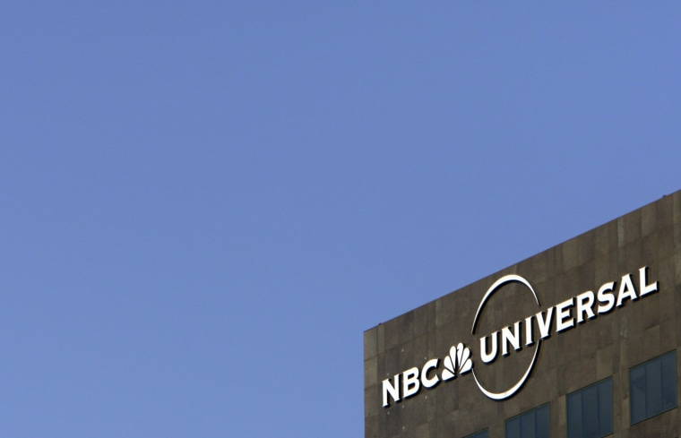 The NBC Universal logo adorns a building in Los Angeles.